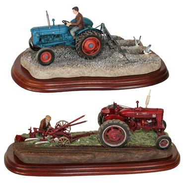 Lot 30 - *  Border Fine Arts Studio Tractor Models 'Making Adjustments', model No. A2142 and 'Ridging...