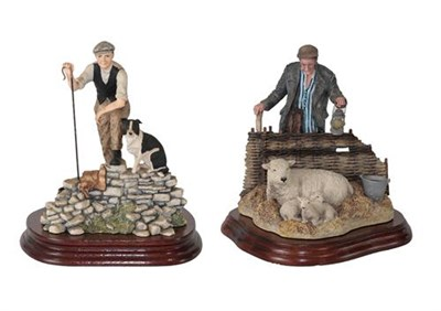 Lot 39 - Border Fine Arts 'A Pair For The Royal' (Shepherd, Sheep and Two Lambs), model No. B0580 by...
