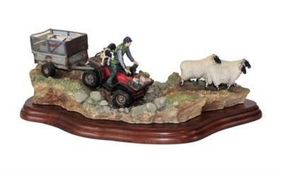 Lot 40 - Border Fine Arts 'All in a Day's Work' (Farmer on ATV herding sheep), model No. B0593 by Kirsty...