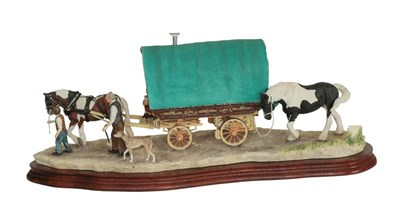 Lot 42 - Border Fine Arts 'Arriving at Appleby Fair' (Bow Top Wagon and Family), model No. B0402 by Ray...