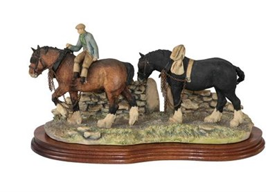 Lot 48 - Border Fine Arts 'Coming Home' (Two Heavy Horses), model No. JH9A by Judy Boyt, on wood base
