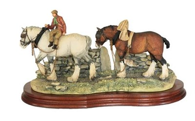 Lot 49 - Border Fine Arts 'Coming Home' (Two Heavy Horses), model No. JH9B by Judy Boyt, on wood base