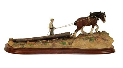 Lot 61 - Border Fine Arts 'Logging', model No. B0700, by Ray Ayres, limited edition 474/1750, on wood...