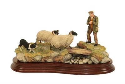 Lot 74 - Border Fine Arts 'Steady Lad, Steady' (Shepherd, Sheep and Collie), model No. JH90 by Ray...