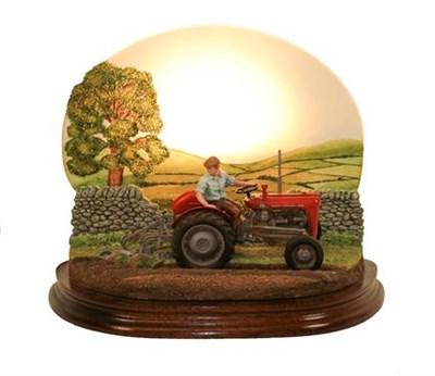 Lot 76 - Border Fine Arts Studio 'Dawn till Dusk' (Backlit MF35 Tractor) Lamp Base, model No.A7687