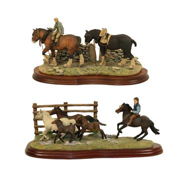 Lot 77 - Border Fine Arts Studio 'The Drift' (New Forrest Ponies), model No. A3876 by Anne Wall, limited...