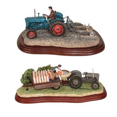 Lot 78 - Border Fine Arts Studio Tractor models: 'Top Dressing', model No. A6349 and 'Ridging Up', model No.
