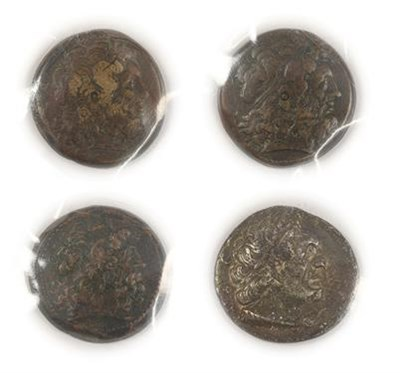 Lot 2002 - Ptolemaic Kingdom of Egypt, 2 x Ptolemy III AE39 obv. laureate head of Zeus , rev. PTOLEMAIOU...