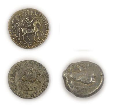 Lot 2004 - 2 x Indo-Scythian Coins comprising: Azes I silver tetradrachm, obv. BASILEOS BASILEON MEGALOU...
