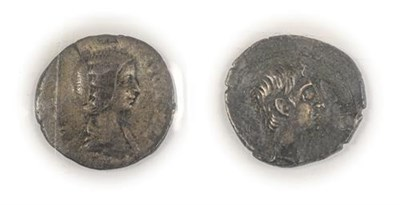 Lot 2006 - 2 x Roman Silver Coins comprising:  Augustus (27BC - AD14) silver quinarius, obv. (CAESAR)...