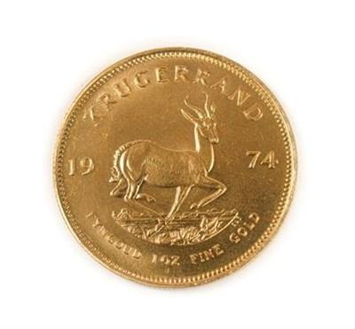 Lot 2008 - South Africa, 1974 Krugerrand. 1 oz. 24ct (.999). Obv: Bust of Paul Kruger left. Rev: Springbok, 19