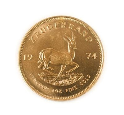 Lot 2009 - South Africa, 1974 Krugerrand. 1 oz. 24ct (.999). Obv: Bust of Paul Kruger left. Rev: Springbok, 19