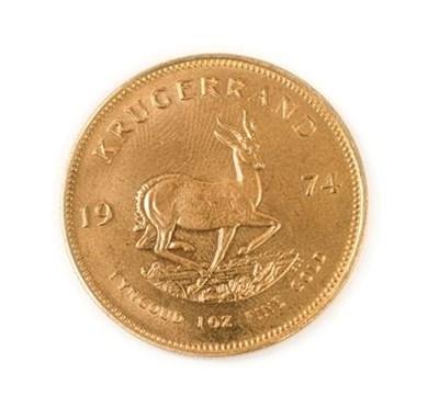 Lot 2011 - South Africa, 1974 Krugerrand. 1 oz. 24ct (.999). Obv: Bust of Paul Kruger left. Rev: Springbok, 19