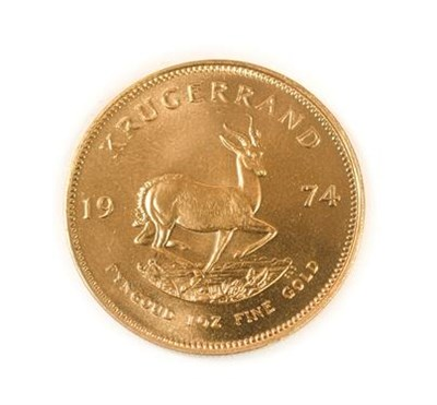 Lot 2012 - South Africa, 1974 Krugerrand. 1 oz. 24ct (.999). Obv: Bust of Paul Kruger left. Rev: Springbok, 19