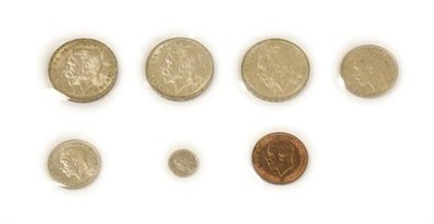 Lot 2014 - George V, 3 x Crowns 1935 EF to AUNC, halfcrown 1935 trivial obv. contact marks o/wise lustrous...