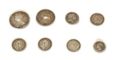 Lot 2015 - 8 x English Silver Coins comprising: Anne halfcrown 1707E SEXTO Edinburgh Mint, post Union with...