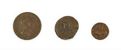 Lot 2018 - 3 x Copper Coins Depicting Elephants consisting of: Ceylon, George III, 1815 two stivers. Obv:...