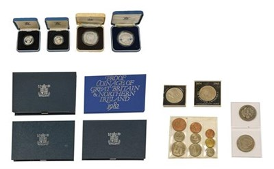 Lot 2025 - 4 x UK Royal Mint Proof Sets: 1982, 1983 with certificate,  1984 no certificate & 1985 with...
