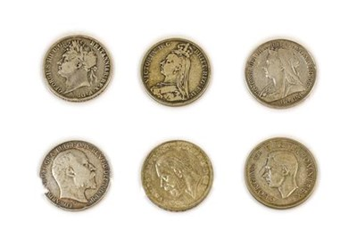 Lot 2032 - 6 x Silver Crowns comprising: George IV 1821 SECUNDO, hairlines & light scratches VG (obv. slightly