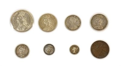Lot 2033 - Victoria, 7 x Silver Coins comprising: crown 1891 light hairlines, good edge, lustrous AEF,...