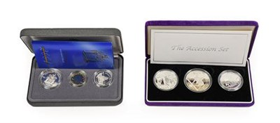 Lot 2035 - Elizabeth II, 'The Accession Set,' a 3-Coin Silver Proof Set   commemorating the Golden Jubilee...