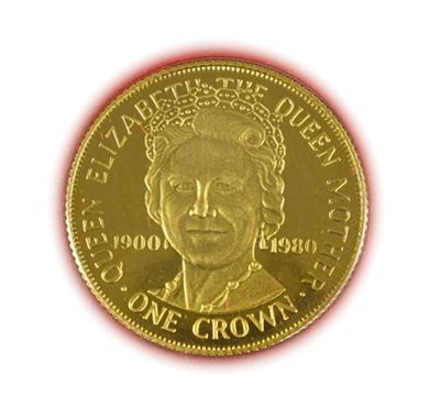 Lot 2037 - Isle of Man, Gold Proof Crown 1980 'Queen Mother 80th Birthday,' obv. Queen's portrait by...