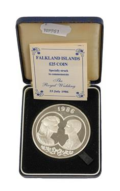 Lot 2040 - Falkland Islands Silver Proof £25 1986, commemorating the marriage of Prince Andrew and Sarah...