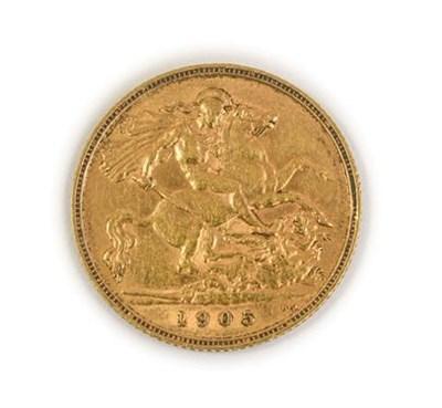 Lot 2050 - Edward VII, 1905 Half-Sovereign. Obv: Bare head of Edward VII right, DeS. below truncation for...