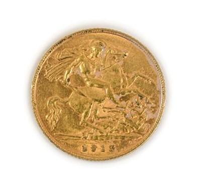 Lot 2051 - George V, 1913 Half-Sovereign. Obv: Bare head of George V left, B.M. below truncation for Edgar...