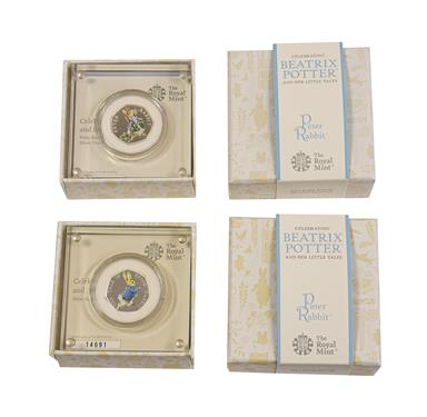 Lot 2052 - Elizabeth II, 2017 & 2018 ''Peter Rabbit'' Colourised Silver Proof Fifty Pences. Obvs: Fifth...