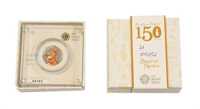 Lot 2056 - Elizabeth II, 2016 ''Squirrel Nutkin'' Colourised Silver Proof Fifty Pence. Obv: Fifth portrait...