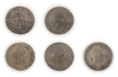 Lot 2067 - 5 x Early Maundy Coins comprising:  William & Mary threepence 1689 first busts, VF, Anne threepence