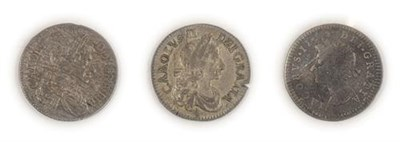 Lot 2068 - 3 x Early Maundy Coins comprising: Charles II fourpence 1672, toned with underlying blue/gold...