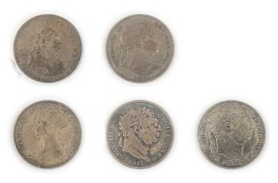 Lot 2069 - George III  4 x silver coins comprising: three shilling bank token 1811 good edge & surfaces AFine