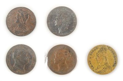 Lot 2070 - 4 x 19th Century Copper Coins comprising: George II halfpenny 1739 very good edge & surfaces...