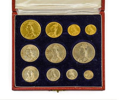 Lot 2072 - Victoria, Golden Jubilee Gold & Silver Set 1887, an 11-coin set comprising: gold £5 entire...