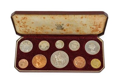 Lot 2073 - Elizabeth II, Coronation Proof Set 1953, 10 coins farthing to crown in case of issue, heavy...