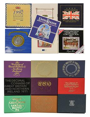 Lot 2074 - 9 x UK Proof Sets: 1970-76, 1980 & 1987, in cases of issue, most sets with light toning o/wise...
