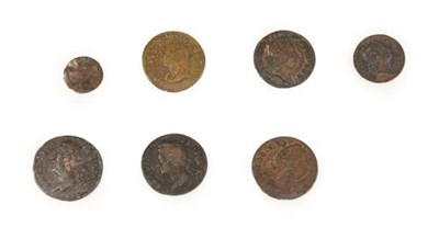 Lot 2079 - Ireland, 7 x Base Metal Coins, Charles I to George III comprising: Charles I farthing,...