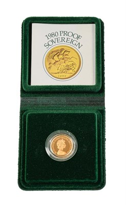 Lot 2080 - Elizabeth II, Proof Sovereign 1980, with certificate of authenticity, encapsulated in Royal...