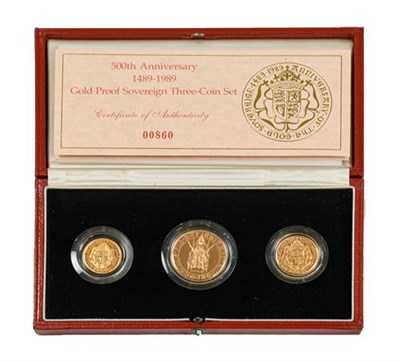 Lot 2082 - Elizabeth II, Gold Proof 3-Coin Sovereign Set 1989 commemorating the 500th anniversary of the...