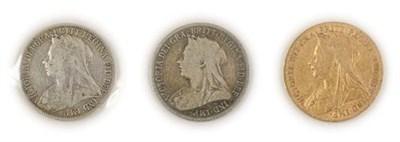 Lot 2084 - Victoria Sovereign 1899 light contact marks AFine/Fine, together with florin 1897 AFine/Fine &...