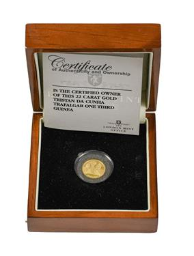 Lot 2089 - Tristan Da Cunha, Gold Proof One Third Guinea 2008, commemorating the 250th anniversary of the...