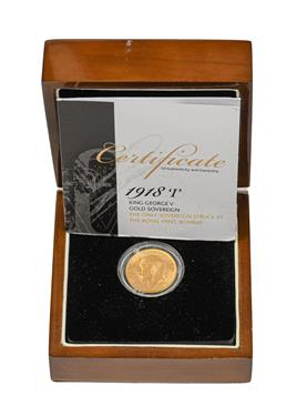 Lot 2091 - George V, Sovereign 1918I (Bombay Mint), only sovereigns of this date were ever struck at the...