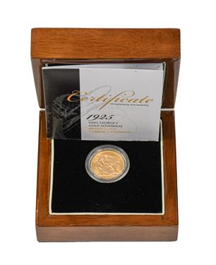 Lot 2093 - George V, Sovereign 1925, good edge & surfaces, with certificate of authenticity, encapsulated...