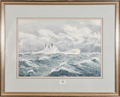 Lot 1000 - A watercolour marine picture depicting HMS Vanguard, signed John Whale 1991, label to the...