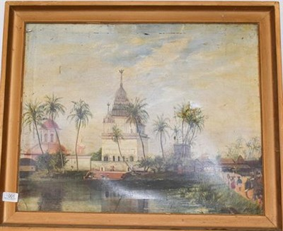 Lot 1001 - M Smith Indian palace scene, signed oil on canvas, 47cm by 58cm