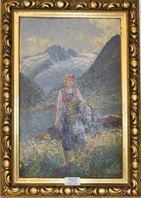Lot 1002 - Emma Pastor Normann (German 1871-1954) Alpine scene with a girl, signed oil on board