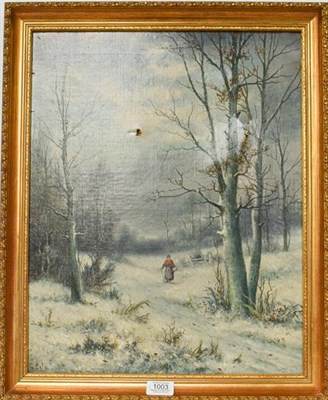 Lot 1003 - George Cole, 19th/20th century, winter scene, oil on canvas, 49cm by 39cm (a.f.) together with...