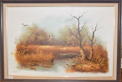 Lot 1005 - Eric Forlee oil painting of birds flying over a marsh, signed and dated '81, oil on board, 61cm...